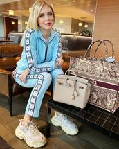 jacket,blogger,chiara ferragni,celebrity,instagram,sweatshirt,sweatpants,light blue
