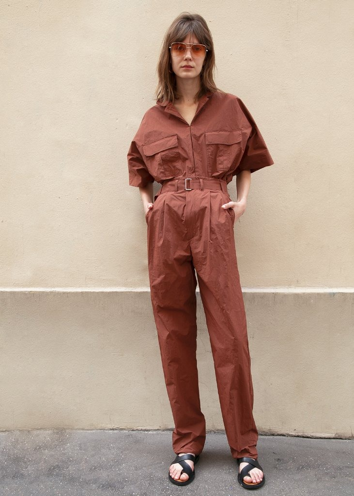 Nylon Belted Pants in Chocolate