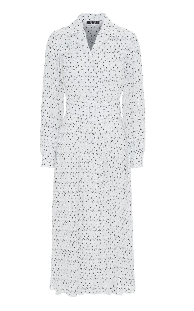 ROTATE Polka-Dot Plissé Midi Dress in print