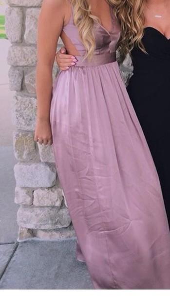 dress purple pink silk prom dress open back open back dresses long dress shiny dress baby pink