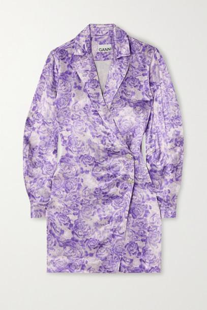 GANNI - Floral-print Satin Mini Wrap Dress - Violet