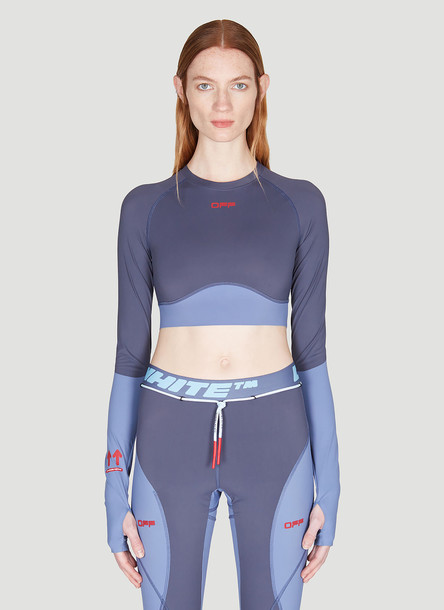 Off-White Long Sleeve Active Cropped Top in Grey size L - XL