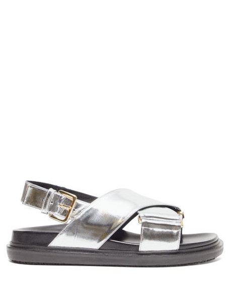 Marni - Fussbett Metallic Leather Slingback Sandals - Womens - Silver