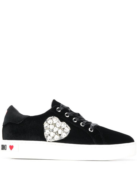 Love Moschino crystal heart-embellished sneakers in black