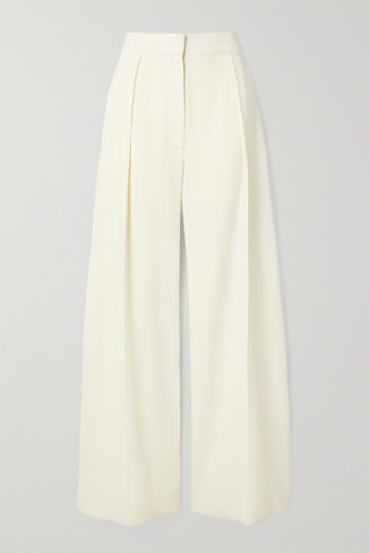 The Row - Avril Pleated Crepe Wide-leg Pants - Off-white