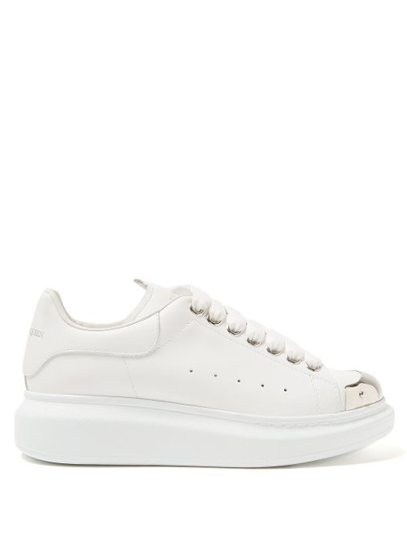 Alexander Mcqueen - Raised Sole Low Top Leather Trainers - Womens - White Silver