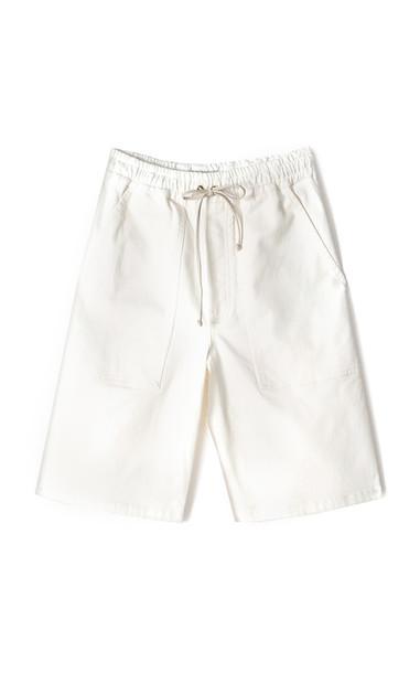 Nanushka Hadi Drawstring Denim Knee-Length Shorts in white