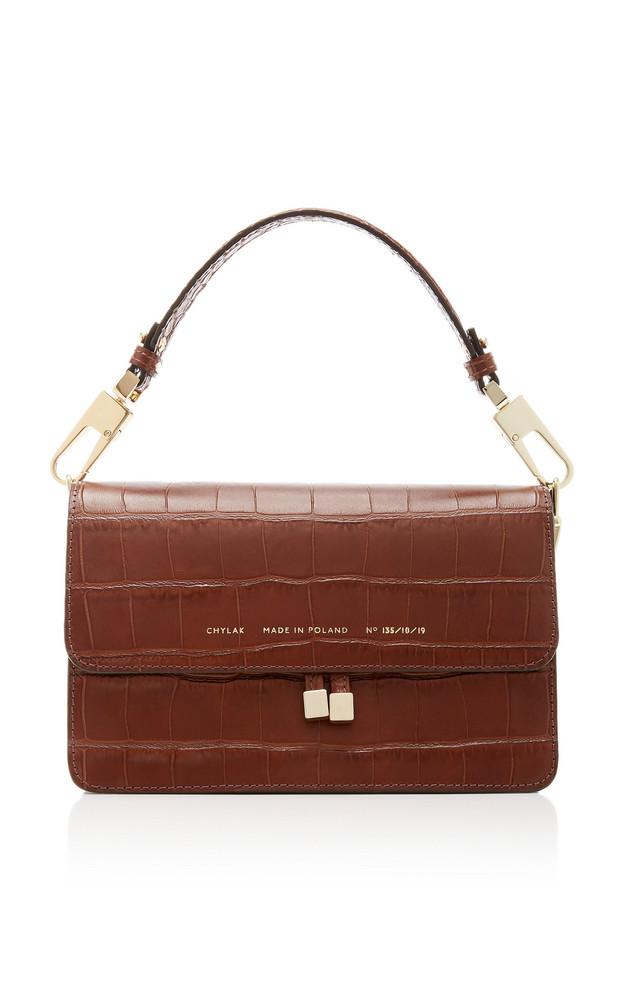 Chylak Croc-Effect Leather Shoulder Bag in brown
