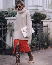 skirt,lace skirt,midi skirt,fendi,knee high boots,brown boots,oversized sweater,red skirt,turtleneck sweater,handbag