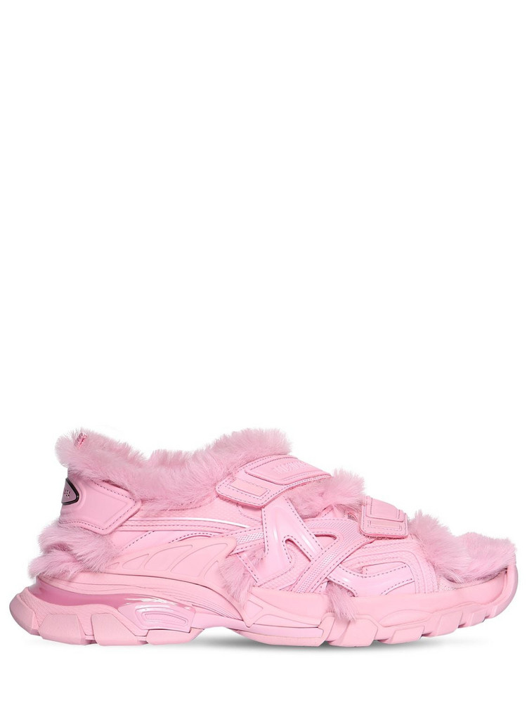 BALENCIAGA 40mm Track Faux Leather Sandals in pink