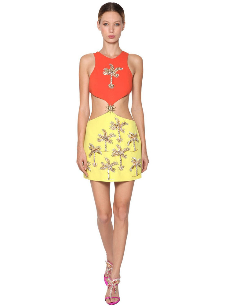 FAUSTO PUGLISI Embellished Cady Mini Dress in orange / yellow