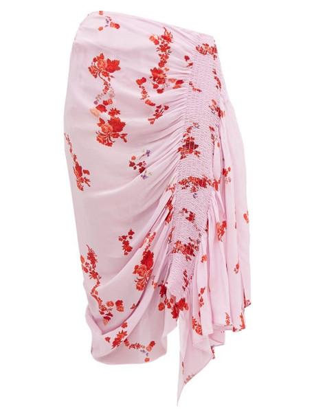 Preen Line - Mertilda Floral Print Ruched Skirt - Womens - Pink Multi