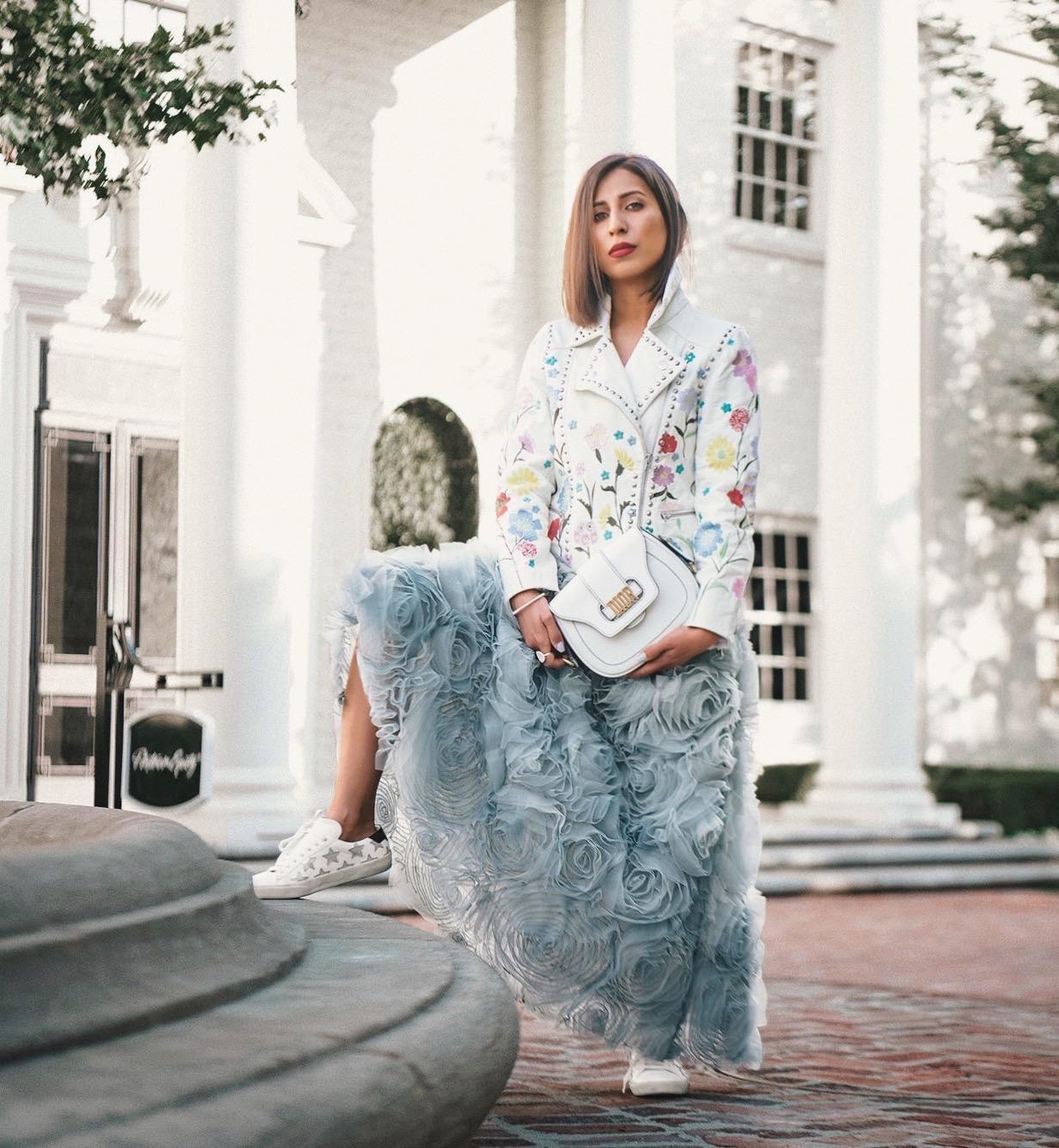 fancycorrectitude blogger shoes top floral jacket leather jacket floral skirt