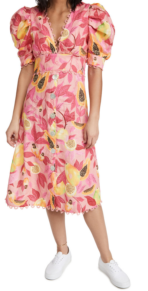 FARM Rio Pink Papaya Salad Button Down Midi Dress in multi