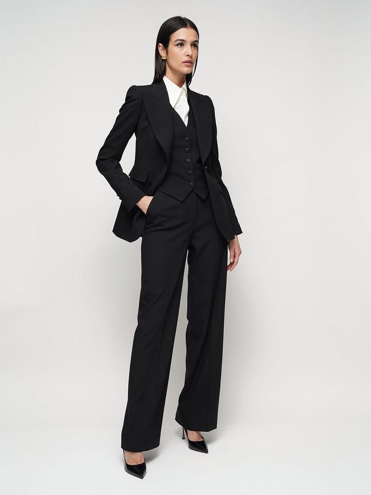 DOLCE & GABBANA High Waist Stretch Wool Wide Leg Pants in black