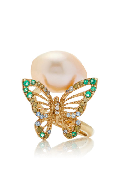 Anabela Chan Butterfly 18K Yellow Gold Vermeil Multi-Stone Ring