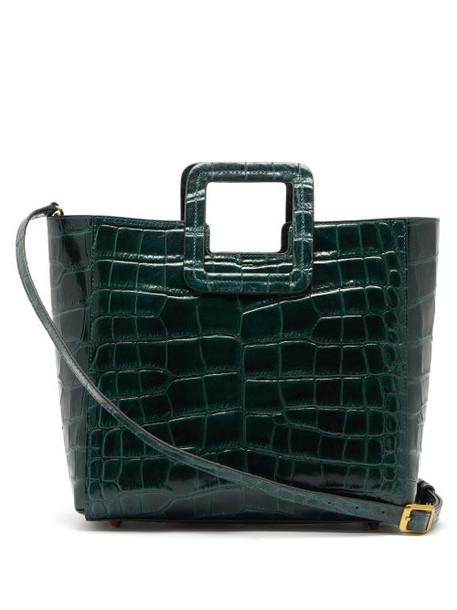 Staud - Shirley Crocodile-effect Leather Shoulder Bag - Womens - Dark Green