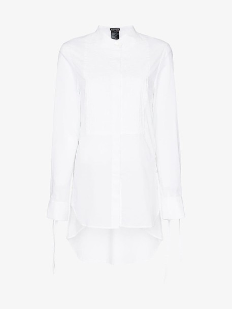Ann Demeulemeester Tie sleeve bib front cotton shirt in white