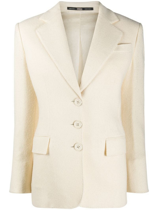 Gianfranco Ferré Pre-Owned 1990s notched lapels buttoned blazer in neutrals