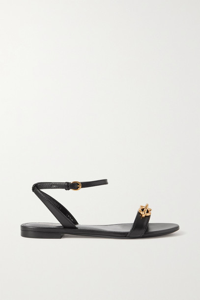 SAINT LAURENT - Jota Chain-embellished Leather Sandals - Black