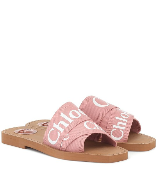 Chloé Woody logo slides in pink