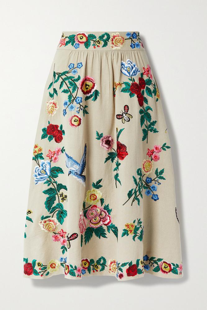ALICE + OLIVIA ALICE + OLIVIA - Earla Embroidered Cotton And Linen-blend Midi Skirt - Neutrals