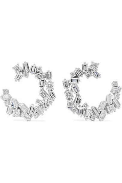 Suzanne Kalan - Spiral 18-karat White Gold Diamond Earrings
