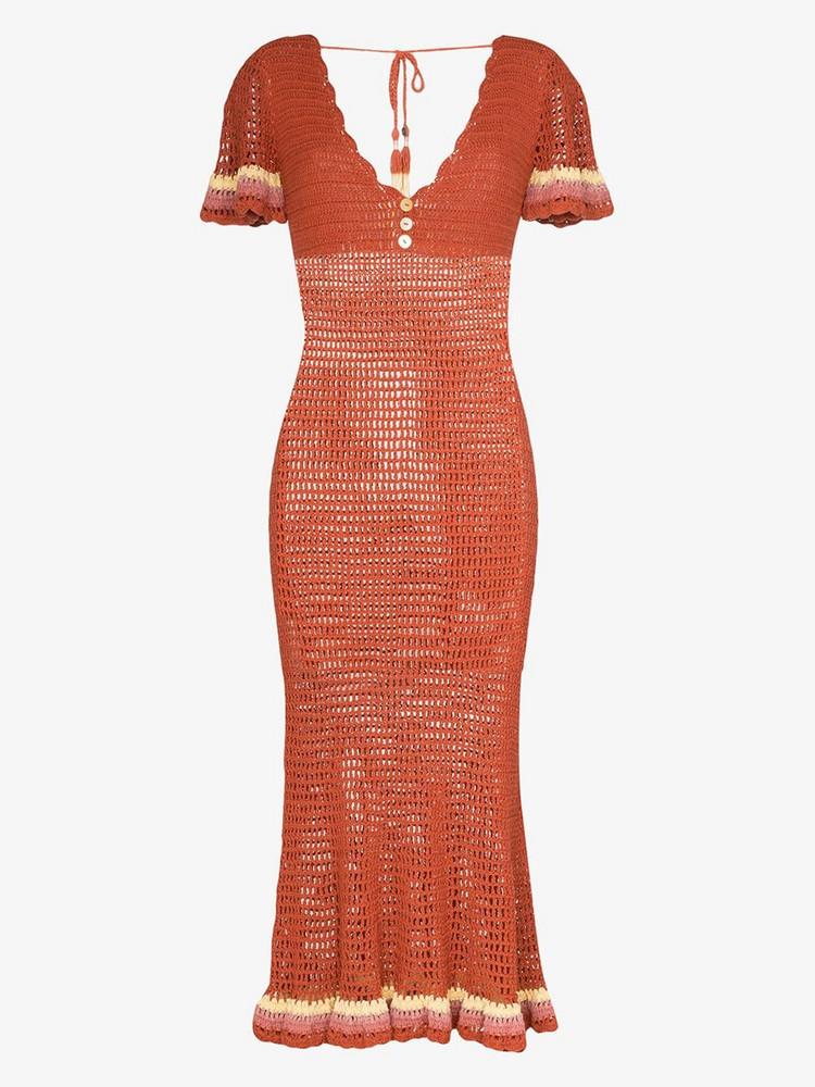 She Made Me Neha crochet fitted midi dress in orange