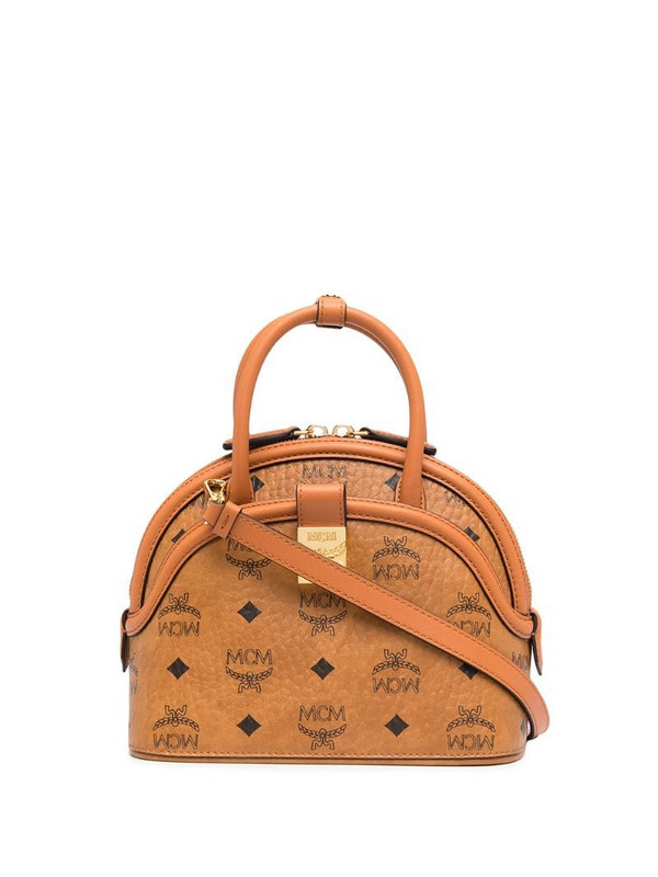 MCM Anna visetos leather bag in brown