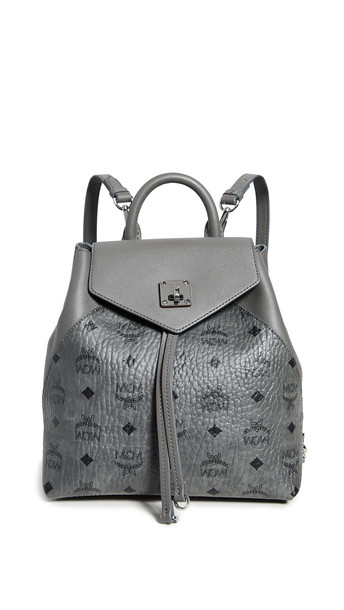 MCM Essential Visetos Original Small Backpack in grey