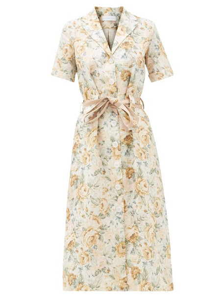 Ephemera - Floral-print Linen Shirtdress - Womens - Yellow Print