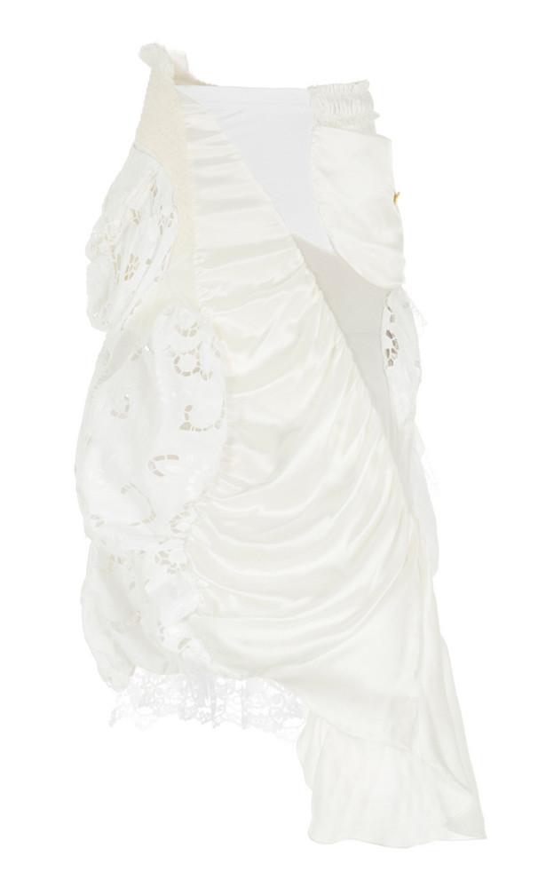 Caroline Hu Draped Silk Skirt in white