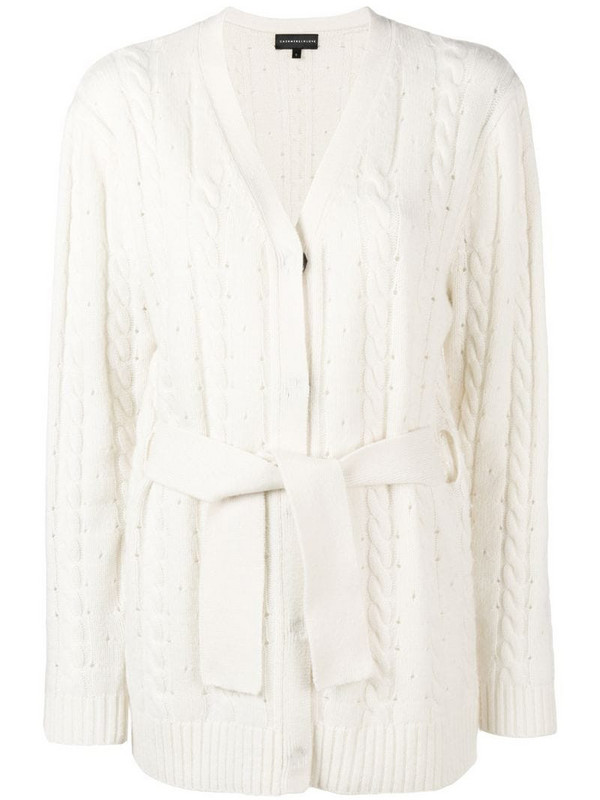 Cashmere In Love cashmere blend cable knit cardigan in white