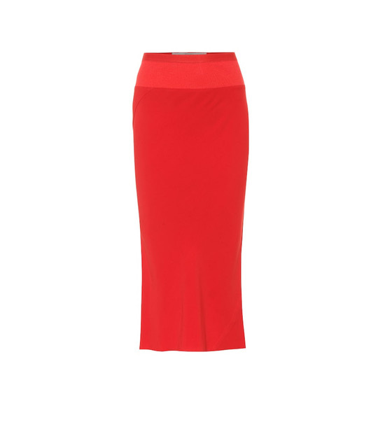 Rick Owens Pencil midi skirt in red