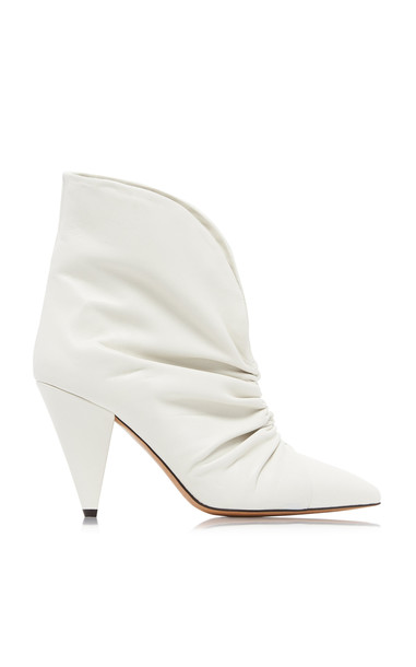 Isabel Marant Lasteen Ruched Leather Ankle Boots Size: 37 in white