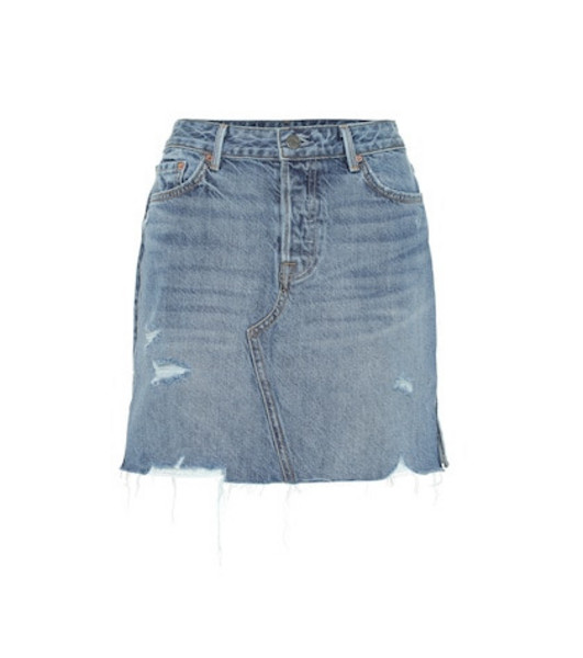 Grlfrnd The Blaire high-rise denim miniskirt in blue