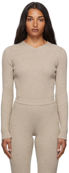 Aeron Ribbed Archeo Sweater in beige