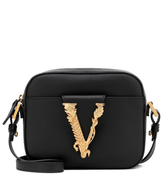 Versace Virtus leather cross-body bag in black