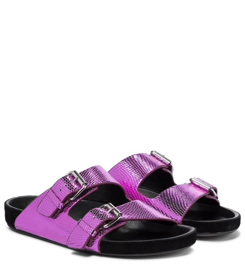 Isabel Marant Lennyo snake-effect leather sandals in pink