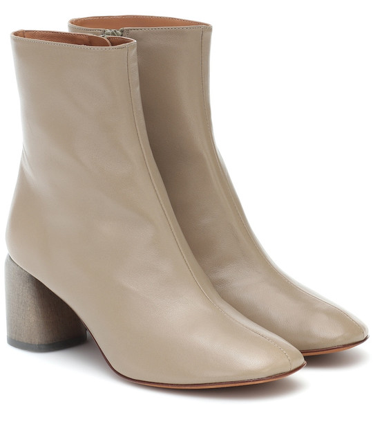 LOQ Georgia leather ankle boots in beige