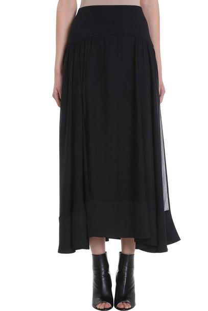 3.1 Phillip Lim Black Silk Long Skirt