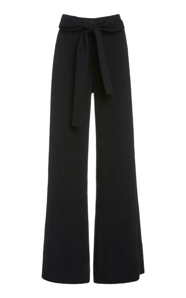 Staud Bernard Plissé Wide-Leg Pants in black