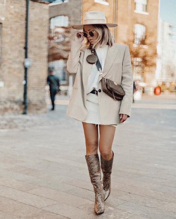 shoes knee high boots snake print blazer white skirt mini skirt white t-shirt crossbody bag hat