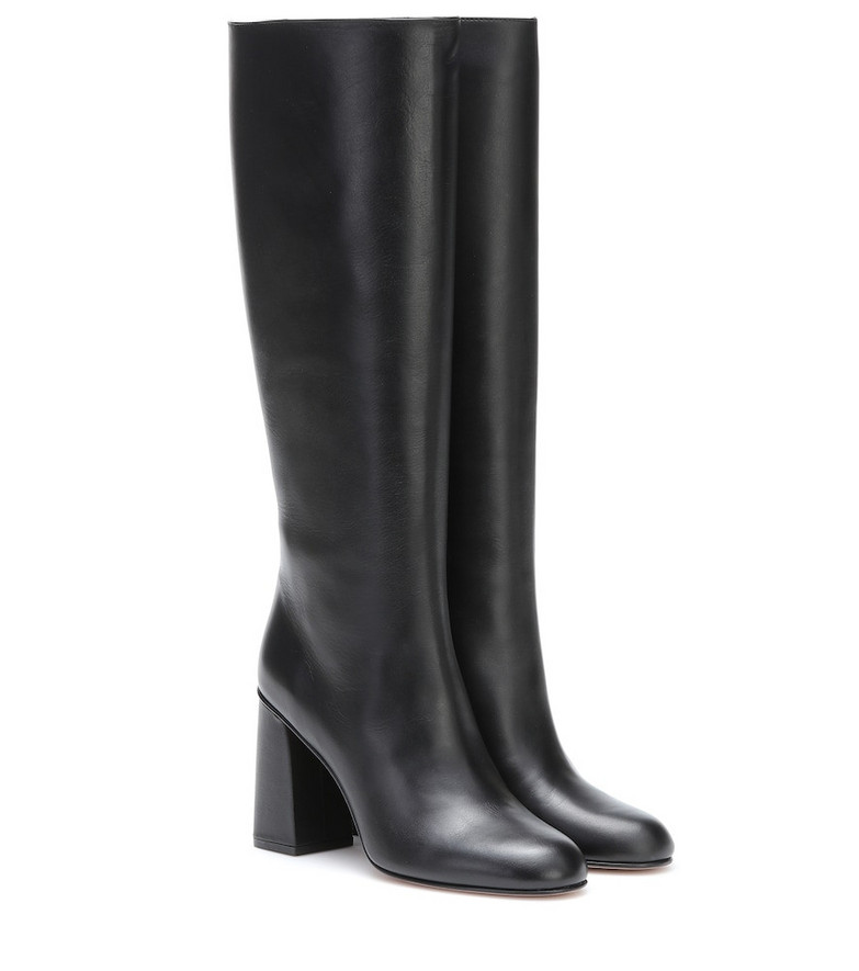 RED (V) RED (V) leather knee-high boots in black
