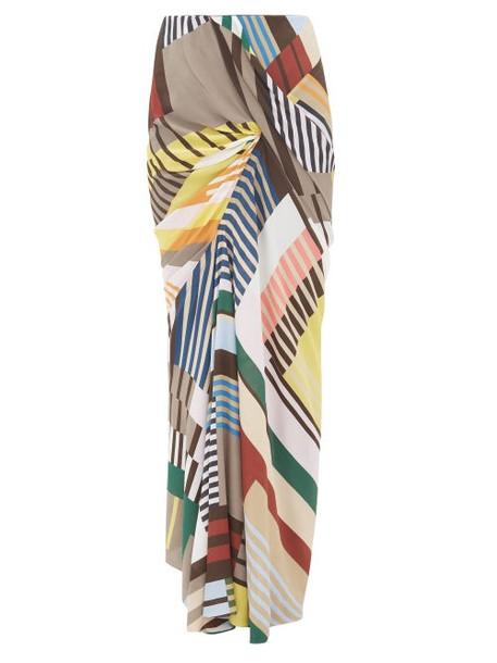 Rick Owens - Geometric-print Ruched Crepe Maxi Skirt - Womens - Grey Multi