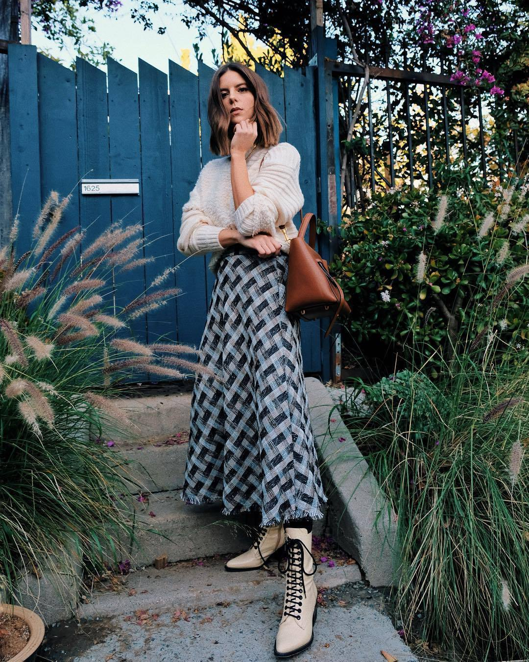 skirt maxi skirt plaid lace up boots tights knitted sweater brown bag