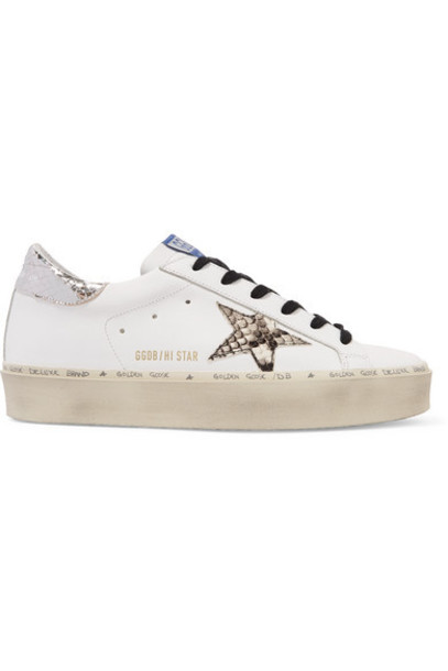 Golden Goose - Hi Star Distressed Leather Platform Sneakers - White