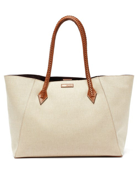 Métier London - Perriand Collapsible Linen Canvas Tote Bag - Womens - Beige Multi