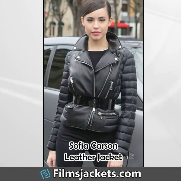coat american singer sofia carson leather jacket jacket fashion style outfit womenswear lifestyle
