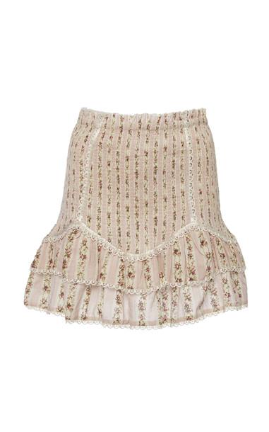 LoveShackFancy Raina Smocked Trim Skirt in pink
